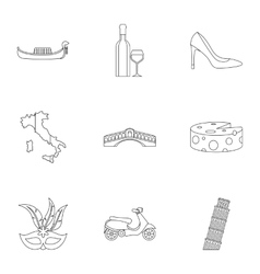 Italy icons set outline style vector