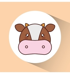 Kawaii cow icon Cute animal graphic vector