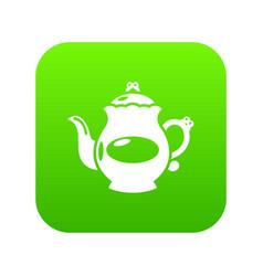 Kettle porcelain icon green vector