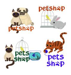 logo design template for pet shops badges vector image