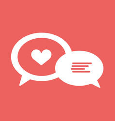 love chat line icon heart in speech bubble vector image