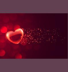 lovely floating romantic heart on bokeh background vector image
