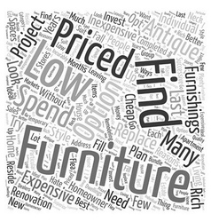 Low priced furniture word cloud concept vector