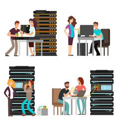 man and woman engineers technician working in vector image