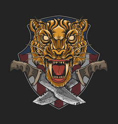 Military emblem tiger with dagger vector