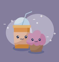 Milkshake with cupcake kawaii character vector