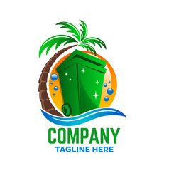 modern trash can logo vector image