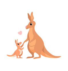 Mother kangaroo with its baby cute animal family vector
