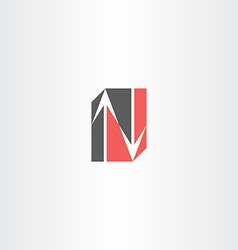 n letter arrow icon element vector image