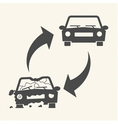 old damaged and new cars car recycling concept vector image