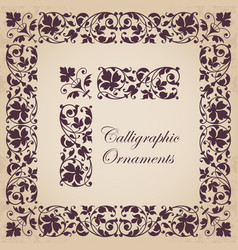 ornamental calligraphic corner border with frame vector image