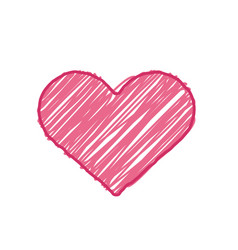 pink sketch heart symbol vector image