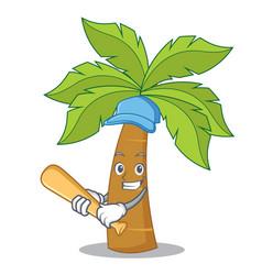 Playing baseball palm tree character cartoon vector