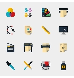 Polygraphy flat icons vector