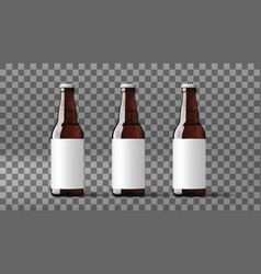 realistic clear beer bottles with white label vector image