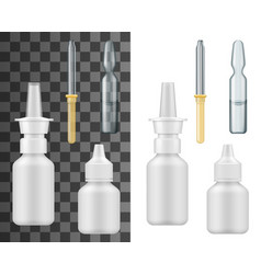 Realistic nasal spray bottle dropper and ampoule vector