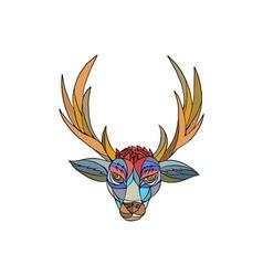 Red Stag Deer Head Mosaic vector