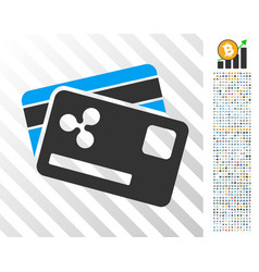 Ripple credit cards flat icon with bonus vector