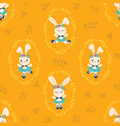 seamless pattern with cute bunny ballerina vector image