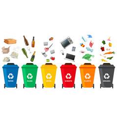 set of different trash bin vector image