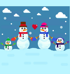 snowman family vector image