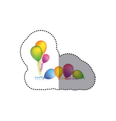 Sticker set flying balloons with serpentine on the vector