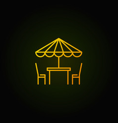 street cafe yellow icon table with vector image