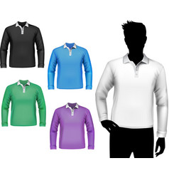 T-shirts male polo long sleeve set vector