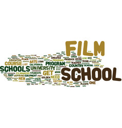 the joys of film school text background word vector image