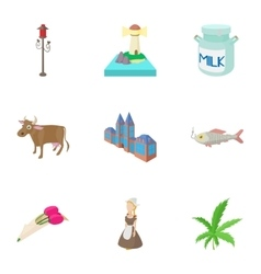 Tourism in Holland icons set cartoon style vector image