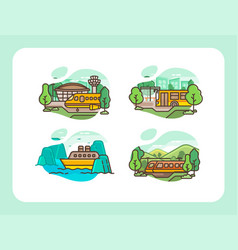 transportation template collection line art vector image