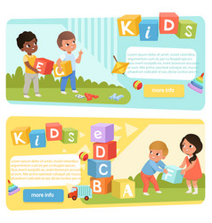 two banners with preschool kids with colored abc vector image