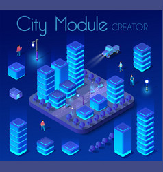 ultraviolet isometric city vector image
