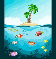 underwater world with fish and tropical island vector image