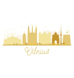 Vilnius City skyline golden silhouette vector image