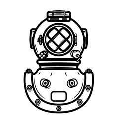Vintage diver helmet design element for logo vector