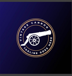 vintage retro cannon gun gunnery badge emblem logo vector image