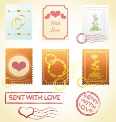 vintage stamps love mail wedding valentines vector image