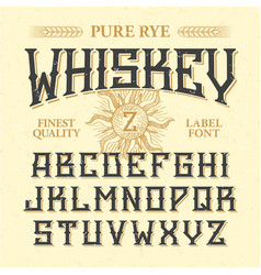 whiskey label font with sample design ideal for vector image