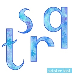 Winter watercolor font QRST vector