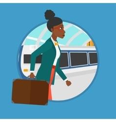 Woman at train station vector