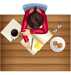 woman study on the table vector image