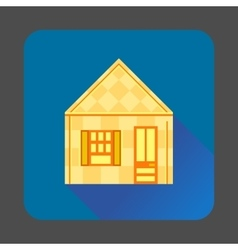 Yellow house icon flat style vector image
