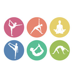 Yoga pose icons round vector
