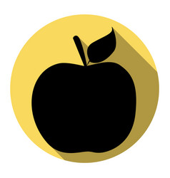 apple sign flat black icon vector image vector image