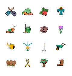 garden comics icons set cartoon vector image