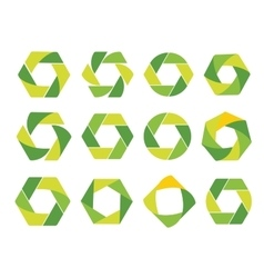 Isolated abstract green hexagon and round logo vector image