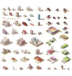 isometric low poly buildings and houses vector image vector image