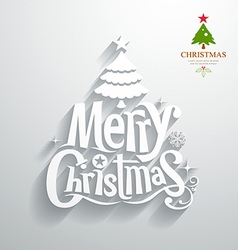 Merry Christmas lettering white paper cut design vector image vector image