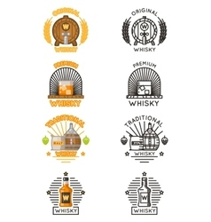 Whisky logo set alcohol drinks logotypes vector image